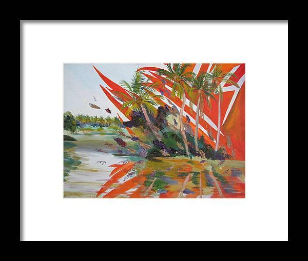 Tsunami Framed Print featuring the painting Tsunami by Art Nomad Sandra Hansen