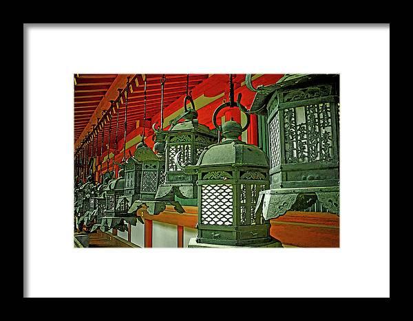 Japanesque Framed Print featuring the photograph Tsuri-do-ro Or Hanging Lantern #0807-2 by Hiro Nishikawa