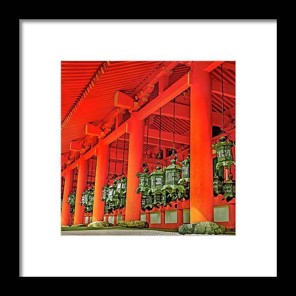 Japanesque Framed Print featuring the photograph Tsuri-do-ro Or Hanging Lantern #0807-4 by Hiro Nishikawa