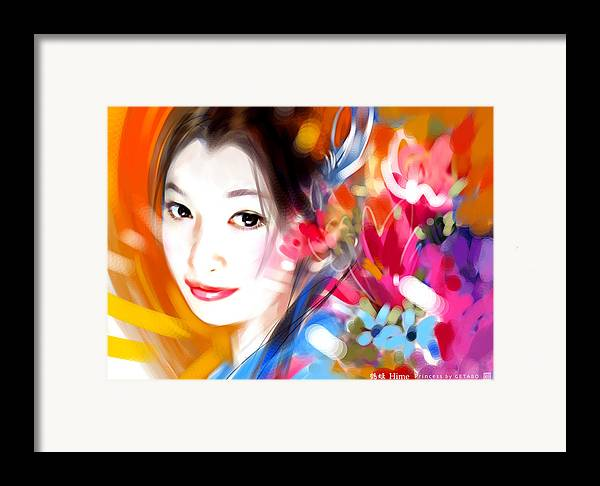 Japanese Digital Art Framed Print featuring the digital art Tsuru Hime by GETABO Hagiwara