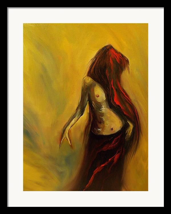 Semi Nude Woman Hair Yellow Framed Print featuring the painting Tu Solo Tu by Niki Sands