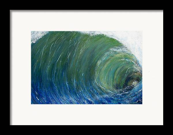 Wave Framed Print featuring the painting Tube Of Water by Tony Rodriguez