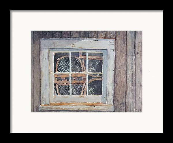 Lobster Traps Framed Print featuring the painting Tucked Away by Debbie Homewood
