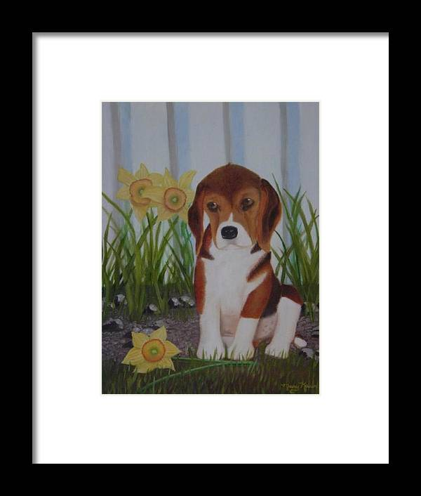 A Sweet Little Puppy In A Flower Bed Framed Print featuring the painting Tucker by Mary Kaser