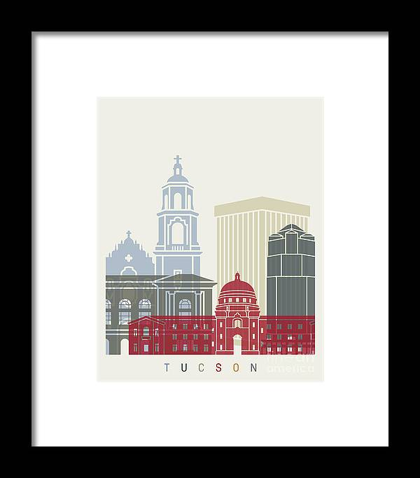 Tucson Framed Print featuring the painting Tucson Skyline Poster by Pablo Romero