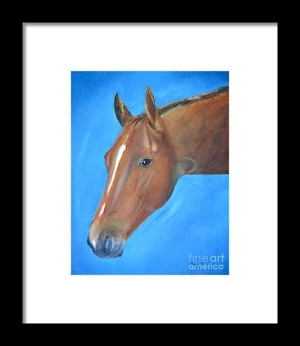Horse Framed Print featuring the painting Tuesday's Scotch Time by Mendy Pedersen