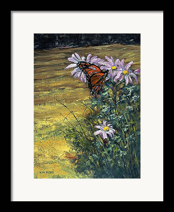 Butterfly Framed Print featuring the painting Tuft Of Flowers by Ken Fiery