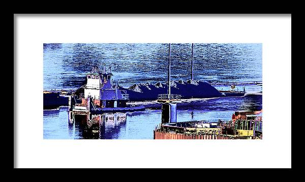 Abstract Framed Print featuring the photograph Tug Reflections by Rachel Christine Nowicki