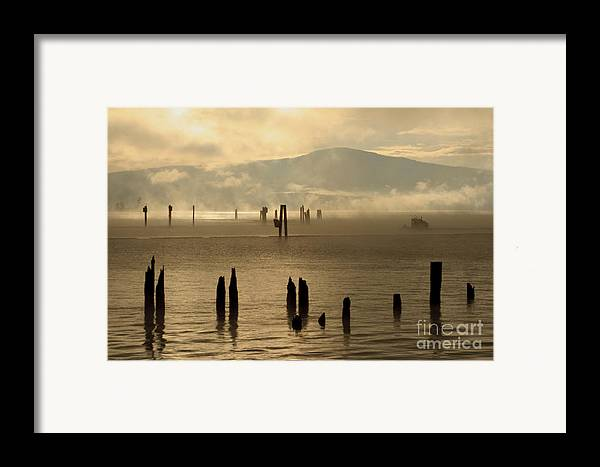 Tugboat Framed Print featuring the photograph Tugboat In The Mist by Idaho Scenic Images Linda Lantzy