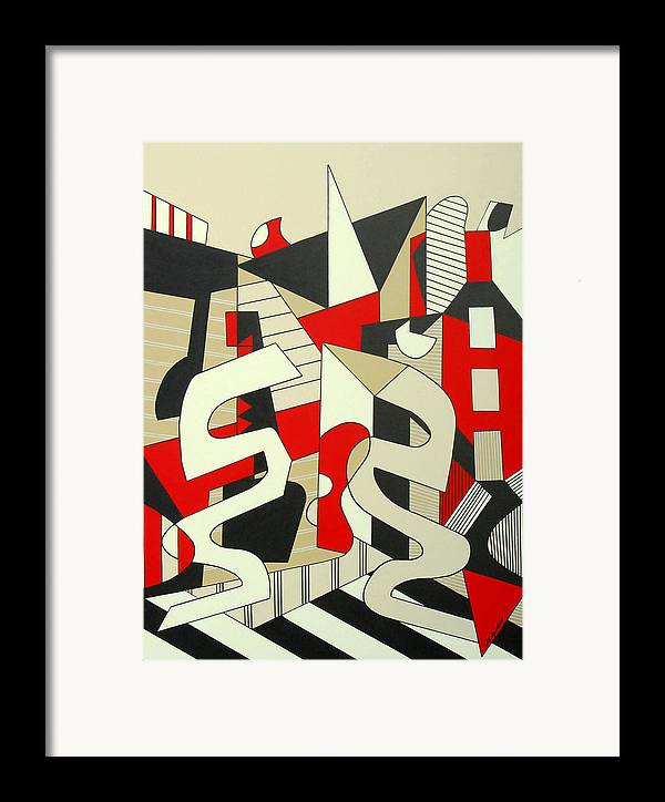 Abstract Expressionism Framed Print featuring the painting Tulcea by Marta Giraldo