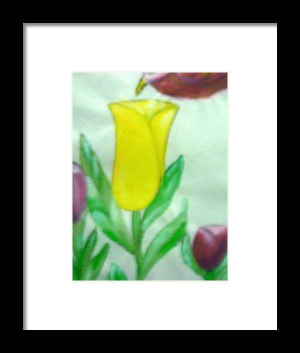 Flowers Framed Print featuring the painting Tulip And Hummingbird by BJ Abrams