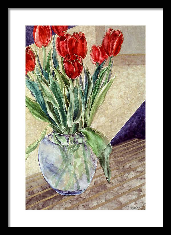 Watercolor Framed Print featuring the painting Tulip Bouquet - 11 by Caron Sloan Zuger