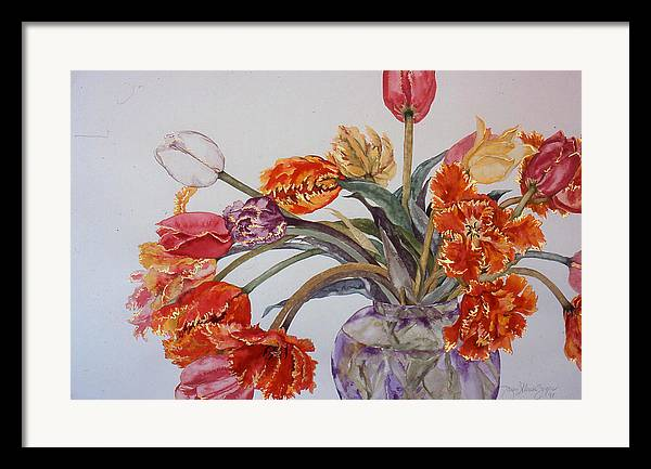 Watercolor Framed Print featuring the painting Tulip Bouquet - 12 by Caron Sloan Zuger