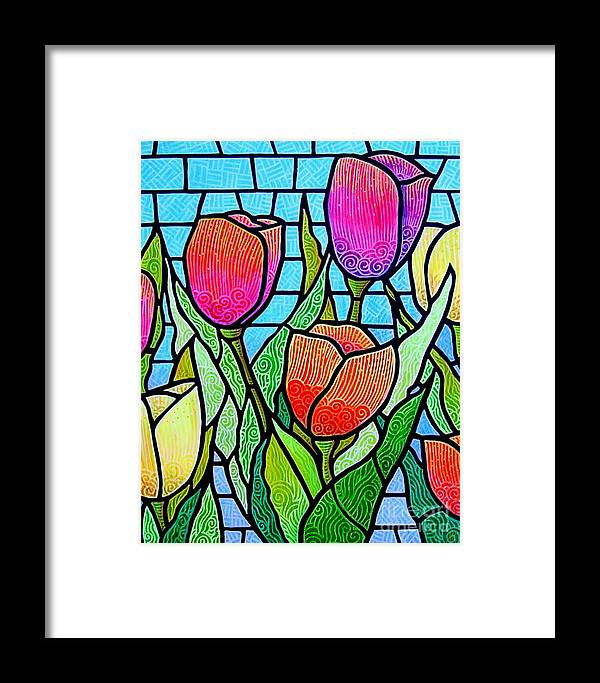 Tulips Framed Print featuring the painting Tulip Garden by Jim Harris