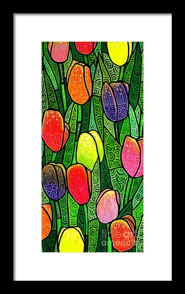 Tulips Framed Print featuring the painting Tulip Glory by Jim Harris