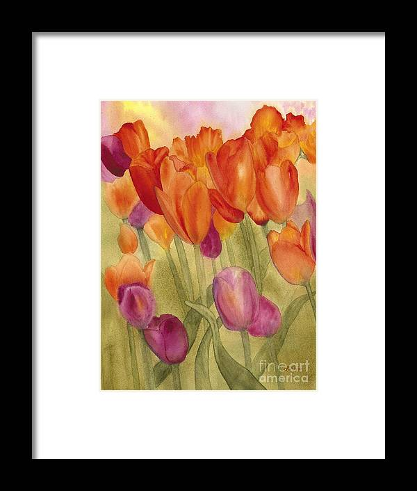 Tulips Framed Print featuring the painting Tulip Glory by Louise Magno
