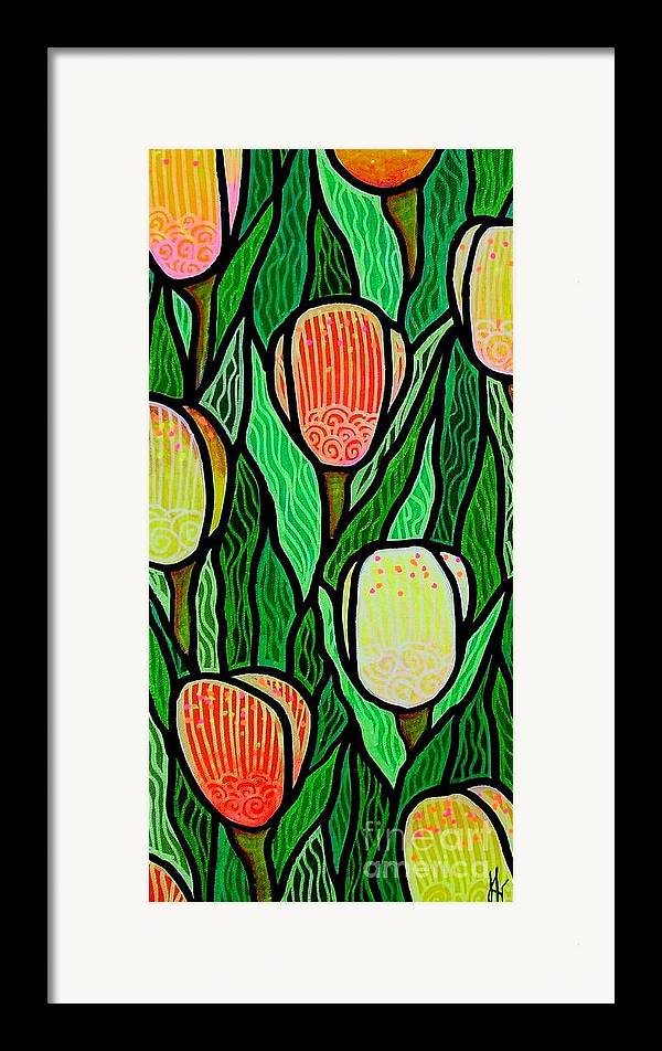 Tulips Framed Print featuring the painting Tulip Joy 2 by Jim Harris