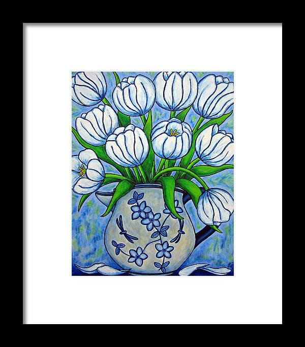 Flower Framed Print featuring the painting Tulip Tranquility by Lisa Lorenz
