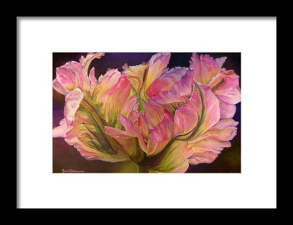 Floral Painting Framed Print featuring the painting Tulipe Explosee by Muriel Dolemieux