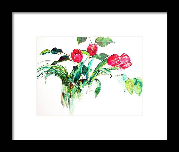Flower Framed Print featuring the painting Tulipes by Muriel Dolemieux