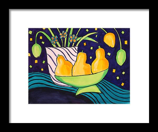 Painting Framed Print featuring the painting Tulips And 3 Yellow Pears by Carrie Allbritton