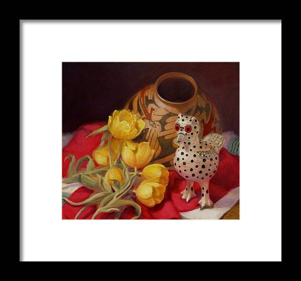 Realism Framed Print featuring the painting Tulips And Pottery by Donelli DiMaria