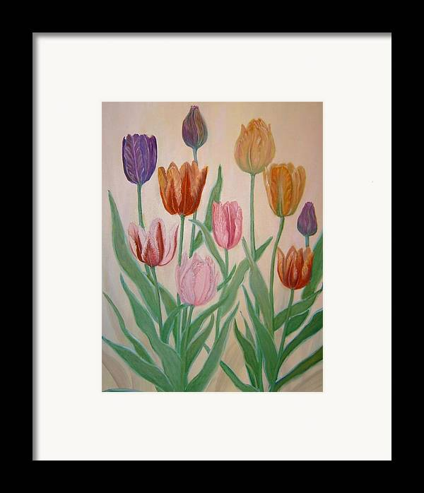 Flowers Of Spring Framed Print featuring the painting Tulips by Ben Kiger
