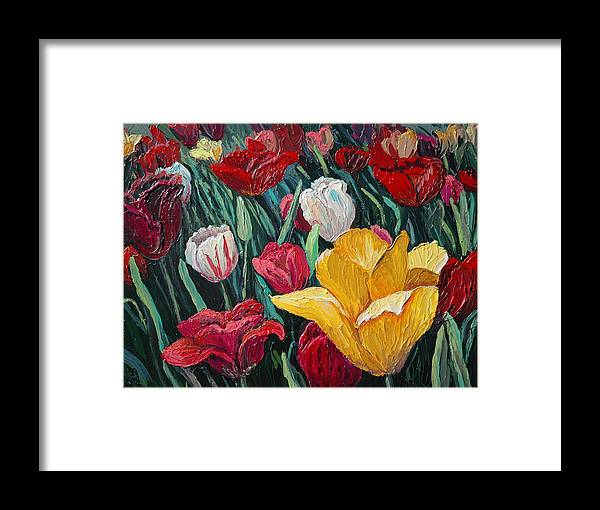 Floral Framed Print featuring the painting Tulips by Cathy Fuchs-Holman