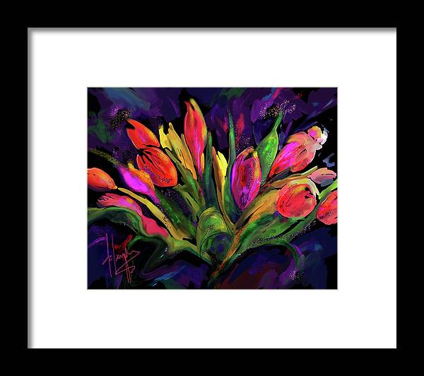 Dc Langer Framed Print featuring the painting Tulips by DC Langer