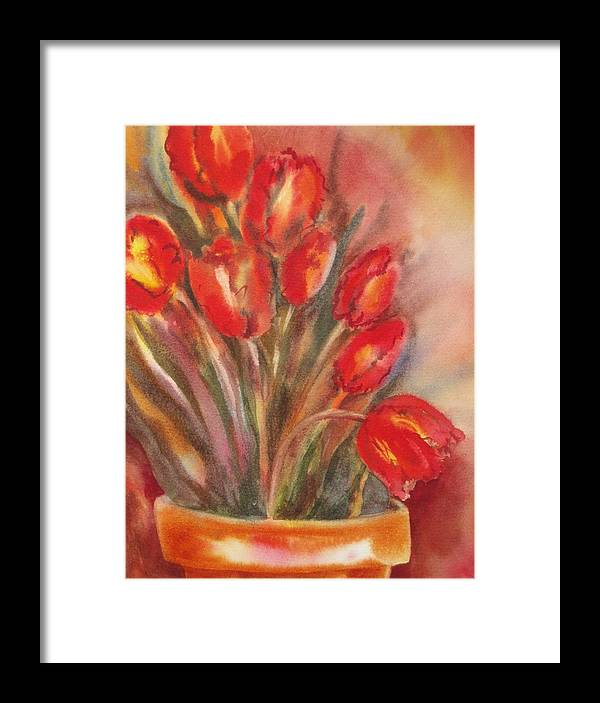 Tulips Framed Print featuring the painting Tulips For David by Tara Moorman