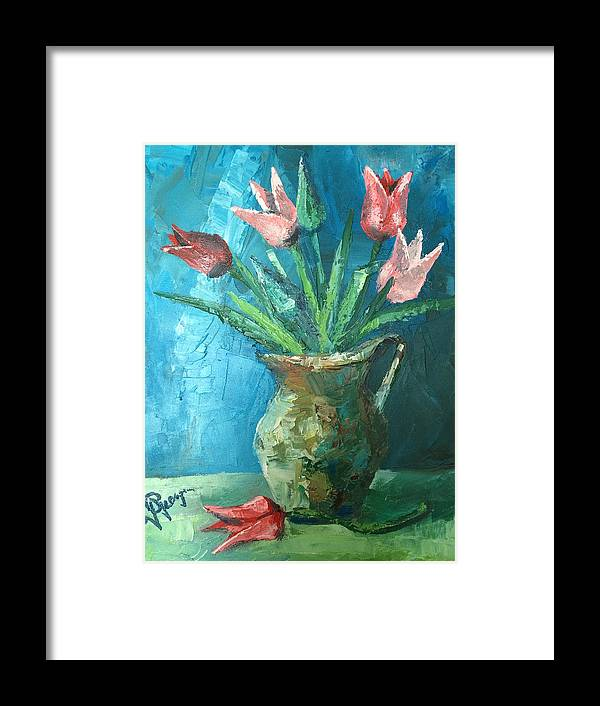 Tulips Framed Print featuring the painting Tulips by Georgescu George