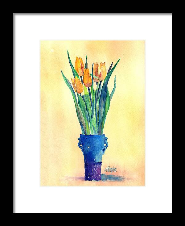 Tulip Framed Print featuring the painting Tulips In A Vase by Arline Wagner