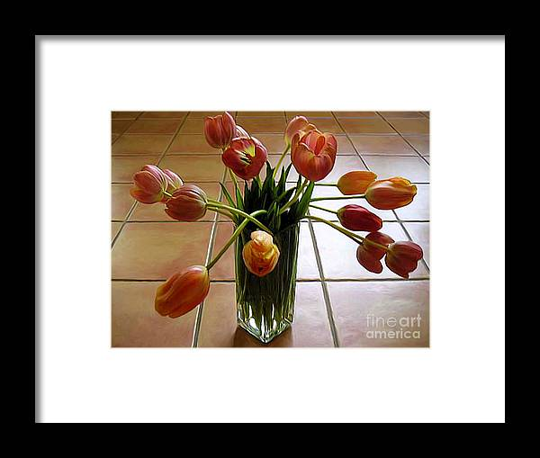 Nature Framed Print featuring the photograph Tulips In A Vase On Tile by Lucyna A M Green