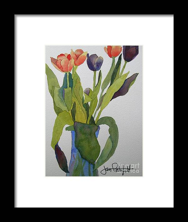 Tulip Framed Print featuring the painting Tulips In Blue Vase by Jeff Friedman