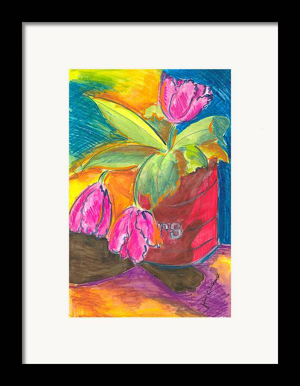 Flowers Framed Print featuring the painting Tulips In Can by Jean Blackmer