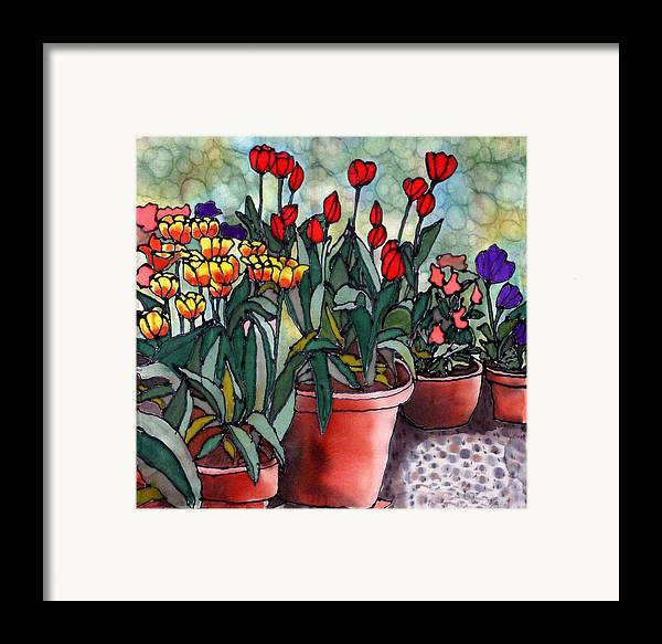 Silk Framed Print featuring the painting Tulips In Clay Pots by Linda Marcille