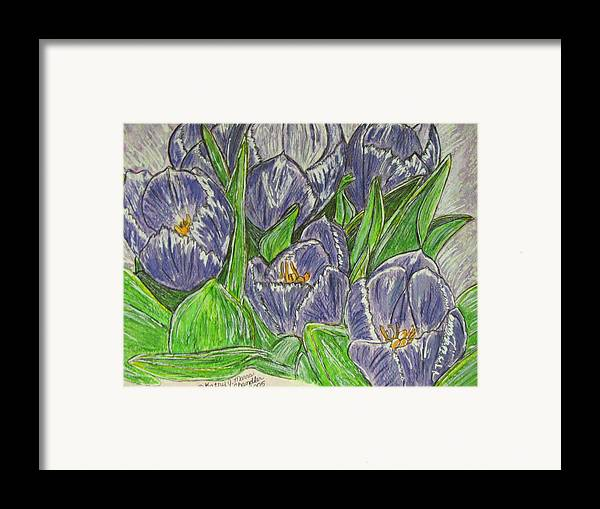 Tulips Framed Print featuring the painting Tulips In The Spring by Kathy Marrs Chandler