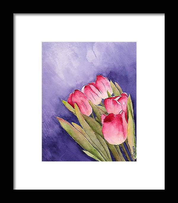 Red Tulips Framed Print featuring the painting Tulips In The Wind by Mary Gaines
