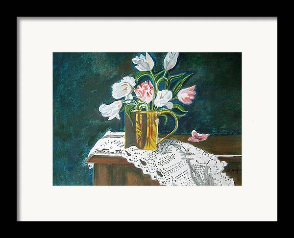 Tulips Framed Print featuring the painting Tulips by Manjiri Kanvinde