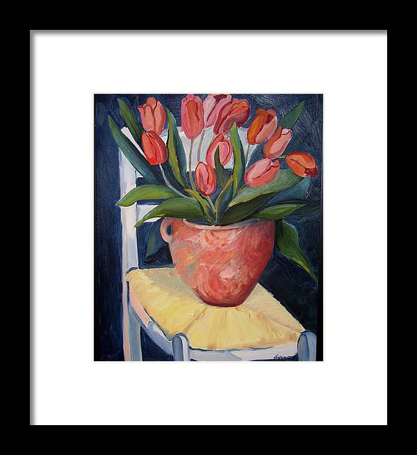 Still Life Framed Print featuring the painting Tulips On A Chair by Diana Davenport