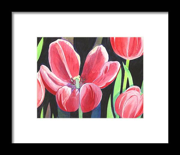 Flower Framed Print featuring the painting Tulips On Black by Helena Tiainen