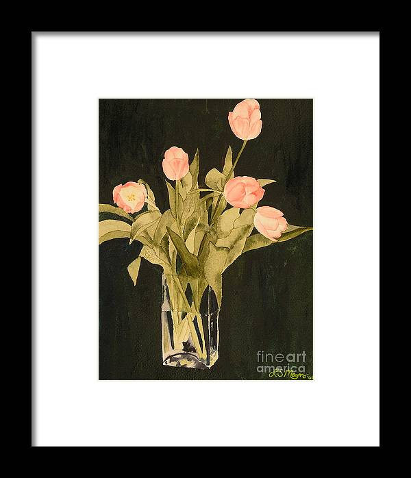 Tulips Framed Print featuring the painting Tulips On Velvet by Louise Magno