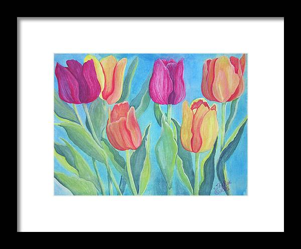 Floral Framed Print featuring the painting Tulips by SheRok Williams