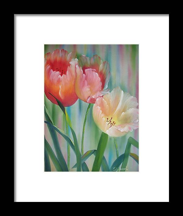 Floral Flower Tulip Exotic Green Red Orange Peach Yellow Holland Framed Print featuring the painting Tulips by Sherry Winkler