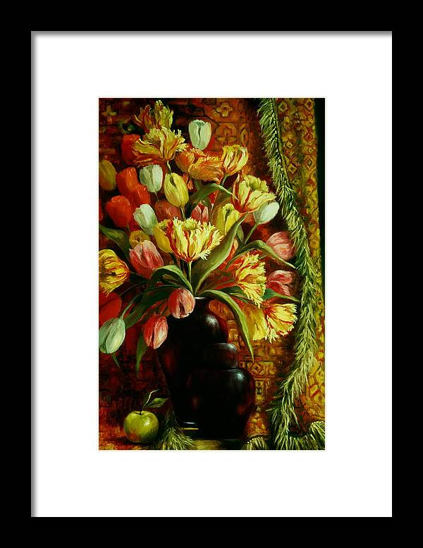 Tulips Framed Print featuring the painting Tulips With Apple by Ruth Stromswold