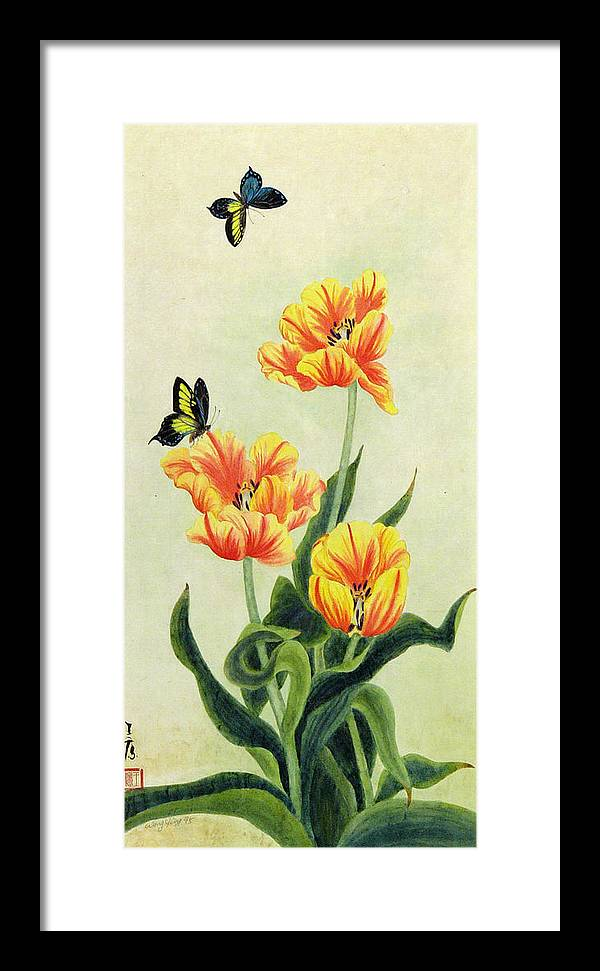Flower Framed Print featuring the painting Tulips by Ying Wong