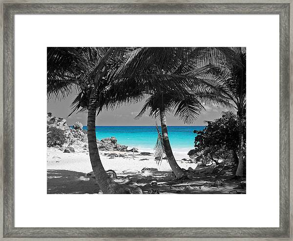 Travelpixpro framed print featuring the digital art tulum mexico beach color splash black and white by