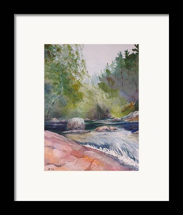 Water Framed Print featuring the painting Tumbling Waters by Debbie Homewood