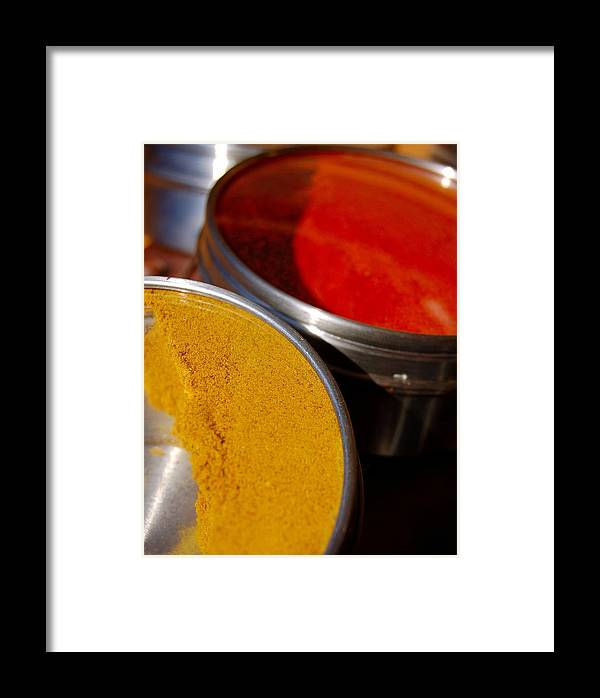 Food Framed Print featuring the photograph Tumeric And Cayanne Pepper by Heather S Huston