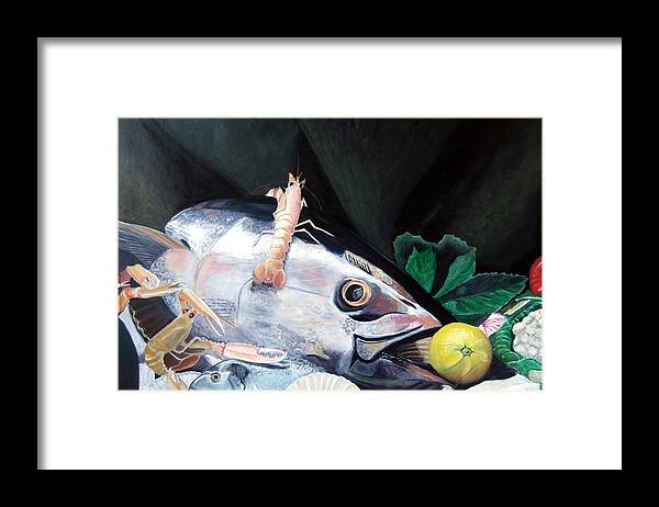 Still Life Framed Print featuring the painting Tuna Head in Venice by Michael Henderson